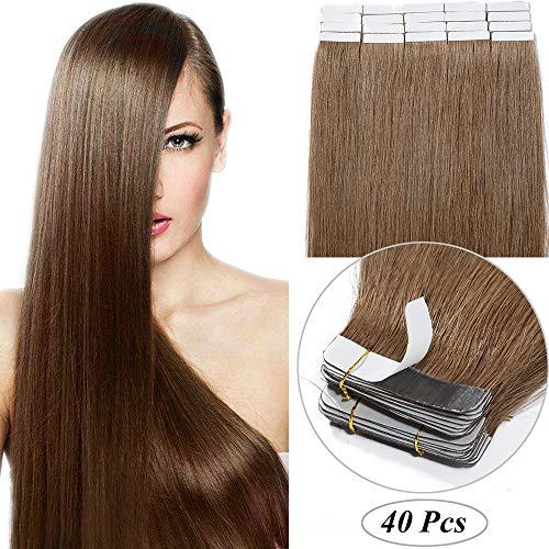 "40 Fasce Extension Biadesive Capelli Veri 100g Tape Extension Adesive 40cm 100% Remy Human Hair 2.5g/Fascia (#6 Marrone Chiaro 16"")"