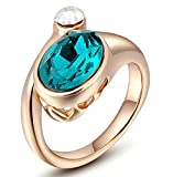 AnaZoz Fashion Jewelry Women's Ring Gold Plated Wedding Bands For Women CZ Color Rose Gold Green Ring for Women Ring Size N 1/2