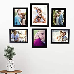 Art Street - Set of 6 Individual Black Wall Photo Frames Wall Hanging (Mix Size)(5 Units 6X8, 1 Unit 8X10 inch)   Free Hanging Accessories Included   