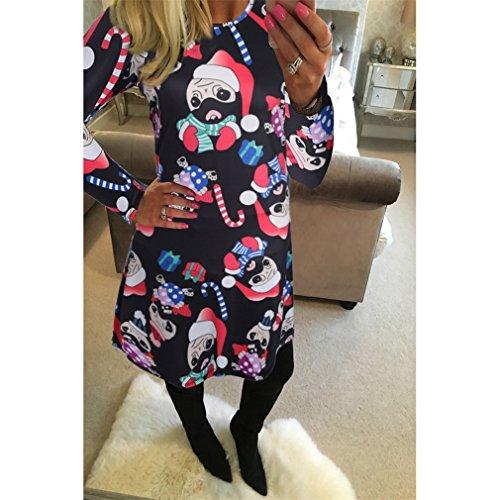 Honghu Manches Longues Noël Robes Femme,Santa Impression Dress de Swing Party de Noël Automne-hiver Noir 2