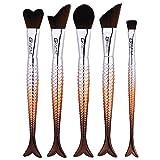 NEEDOON Make Up Pinsel Set Foundation Blending 5 Stück Fisch Pinsel Eyeliner Lidschatten Kosmetik Tasche,Kaffee