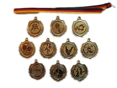 10 kleine Volleyball-Medaillen mit Bändern und 3 Volleyball-Anstecknadeln.