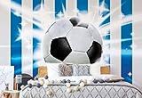 Wallsticker Warehouse Fußball Blau Weiss Streifen Fototapete - Tapete - Fotomural - Mural Wandbild - (476WM) - XXXL - 416cm x 254cm - VLIES (EasyInstall) - 4 Pieces