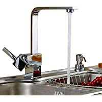 Girevole da 360 gradi Cucina moderna Acqua calda e fredda di miscelatore del rubinetto singola maniglia cromo lucido Kitchen Sink Faucet diffusa, Deck Monte ottone