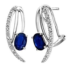 Naava 9 ct White Gold 0.15 ct Diamond and Sapphire Gem Earrings