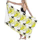 surce Toallas de Playa Ducha Toalla de Piscina Toallas de Playa Manta Divertido Pud Perro Plátano Repetir Blanco 31x51 Pulgadas