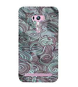 PrintVisa Vintage Art Waves Pattern 3D Hard Polycarbonate Designer Back Case Cover for Asus Zenfone Selfie