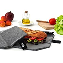 Roll'eat Boc'n'Roll  Eco, Porta bocadillos reutilizable , bolsa merienda , funda bocadillo, Sin BPA, Negro