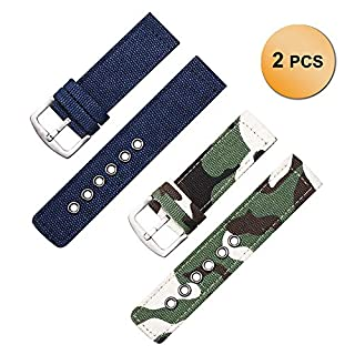 2 Pack Army Green Camouflage and Dark Blue NATO Watch Bands, Ballistic Nylon Watch Wristband 20mm
