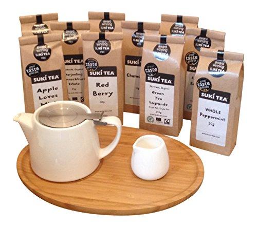 white-forlife-18oz-stump-loose-leaf-teapot-with-bamboo-tray-creamer-suki-tea-100g-breakfast-tea