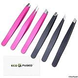 Pinzette - 2 Sets - Schräg/spitz/flach - Hohe Präzision - Augenbrauen zupfen, falsche Wimpern auftragen, Gesicht/Körper/eingewachsene Haare entfernen - Beauty Pflegewerkzeug - Rosa und Schwarz