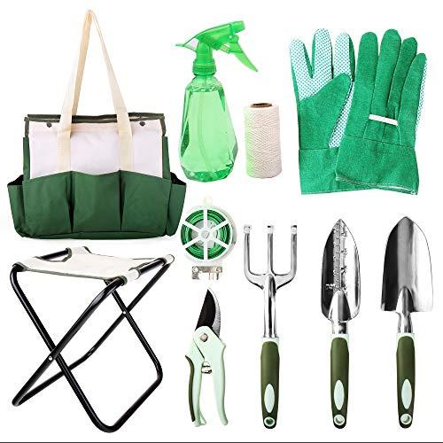 Hi-Spec 9-teiliges Alles-in-einem Gartenwerkzeug & Klappstuhl-Set mit Tasche
