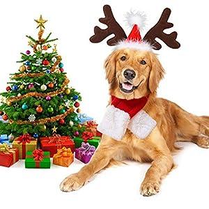 Legendog Robe de Noel Chien, Antlers Headwear écharpe Pet Noël Noël Tenue Chiens Chat Cadeau