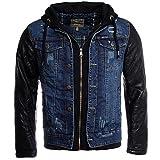 Young & Rich Herren 2in1 Jeans Jacke gefüttert Kontrast blau schwarz mit Kunstleder Ärmeln Kapuze vintage used destroyed double layer Look, Grösse:S