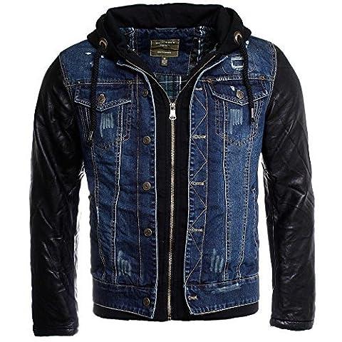 Young & Rich 2in1 jeans jacket bleu noir vintage destroyed used double layer look similicuir manche fourré homme capuche, grösse:s