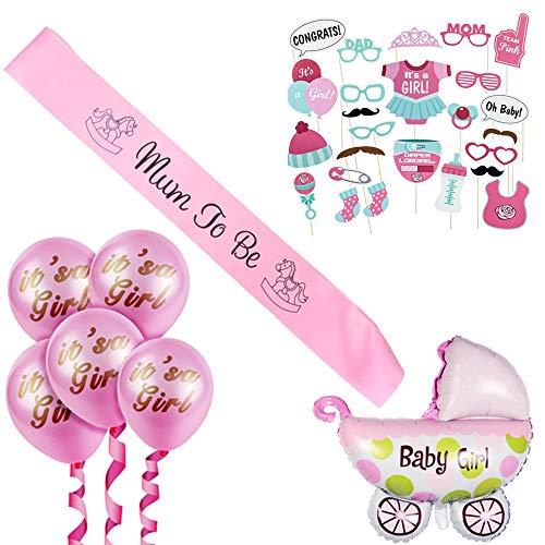 Mädchen/its a girl babyshower deko/Baby Dusche Dekoration/Neugeborene Rosa Fotorequisiten Masken, Mum to Be Schärpe, Kinderwagen Folienballon und it's a girl ballons. ()