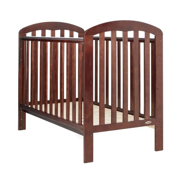 Obaby Lily Cot - Walnut Obaby Protective teething rails 3 position base height Requires mattress size 120 x 60cm 2