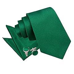 Idea Regalo - Uomo Verde Smeraldo Cravatta Taschino Pochette Fazzoletto Gemelli Classico Nuziale Sposo Set