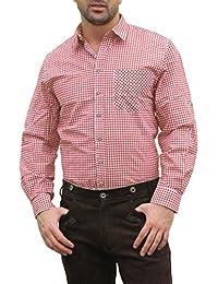 Trachtenhemd for Oktoberfest Costume Lederhosen Cotton / Chequered Red
