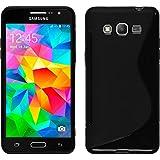 PhoneNatic Case für Samsung Galaxy Grand Prime Hülle Silikon schwarz S-Style Cover Galaxy Grand Prime Tasche + 2 Schutzfolien
