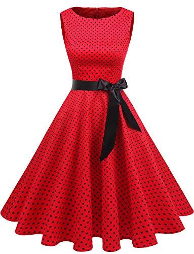 Gardenwed Damen 1950er Vintage Cocktailkleid Rockabilly Retro Schwingen Kleid Faltenrock Red Small Black Dot L