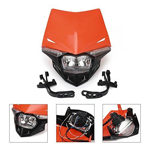 JFGRACING H412V 35W Universale Moto Faro Testa Lampada a LED per Fuoristrada Supermoto Enduro K.T.M EXC Xcf Sxf SX Xcw Excf-Arancione