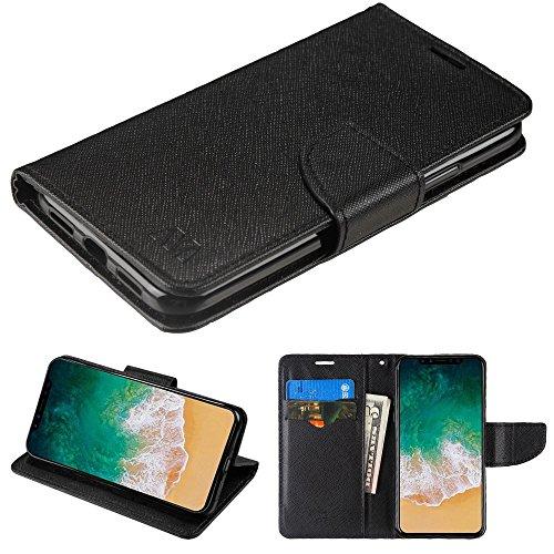 Fall + temperedglass Passt Apple iPhone X/10MYBAT Schwarz Muster/Schwarz Liner MyJacket Brieftasche (mit Kartenschlitz) -