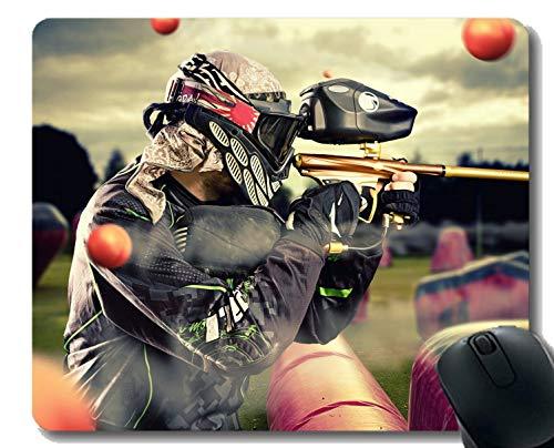 Gaming Mouse Pad Custom, Pistole Paintball Zeitraffer Fotografie Mauspad mit genähtem Rand