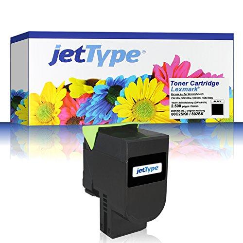 Preisvergleich Produktbild jetType Toner ersetzt Lexmark 80C2SK0 802SK für CX410de / CX510de / CX310n / CX410dte / CX410e, schwarz, 2.500 Seiten
