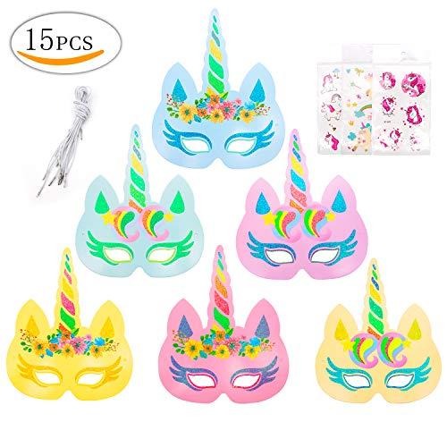 MMTX Einhorn Party Supplies 12Pcs Rainbow Einhorn Glitter Papier Masken und 3Pack Einhorn Cartoon Tattoo für Kinder Geschenk Geburtstag Party Cosplay Hat Gastgeschenken