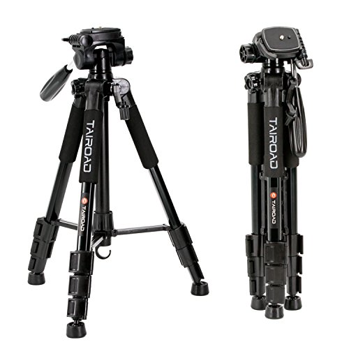 Tairoad T1-111 Reisekamera Stativ mit Transporttasche - 3-Wege-Neiger - schnelle Anpassung mit FlipLocks - kompatibel mit kompakten und spiegellosen Kameras von Nikon Canon Sony - schwarz
