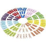 eBoot 1 Pulgada Foto Papel Pinza Mini Pinzas Para Ropa Clips de Madera Pinza de Arte 100 Piezas (Conjunto de Colores 1)