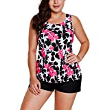 TheShoppingDiary Red Black Floral Print Tankini Short Swimsuit