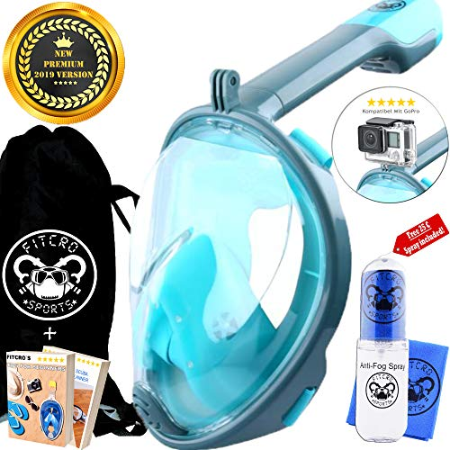 Fitcro Premium Tauchermaske, Turquoise/Grey L-XL