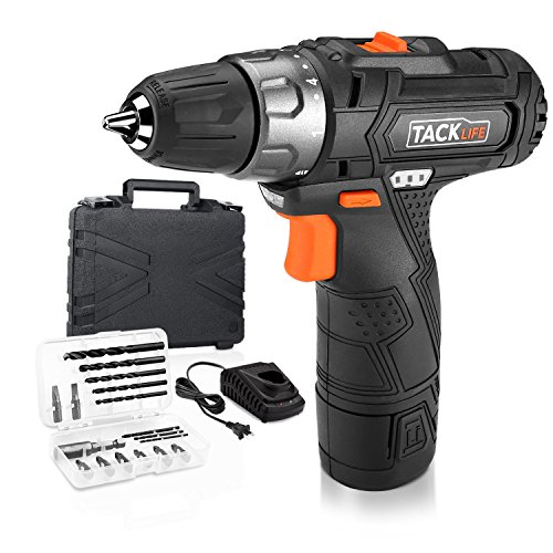Tacklife Cordless Drill/Driver PCD02B 1500mAh Lithium-Ion Cordless Screwdriver Max Torque 25N.m 10mm Chuck, Variable Speed, 19+1 Torque Setting with LED, 8pcs Drill Bits,8pcs Driver Bits