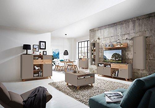 Anbauwand, Wohnwand, Schrankwand, Fernsehwand, Wohnzimmerschrank, Wohnzimmerschrankwand, Eiche, Navarra, steingrau, modern, Retro - 5
