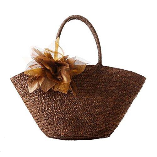 JOMNM Sommer Natural Straw Gewebe Aus Mit Großen Blumen Umhängetasche/Mädchen Süß Sea Beach Tote Reisen Handtasche. Brown