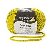 Merino Extrafine 40 Schachenmayr anis (Fb 374) * 50g Knäuel * Merinowolle zum stricken von Mützen, Schals und Loops in gelb – Winterwolle Nadelstärke 7-8 mm in vielen tollen Farben – Wolle für Mützen und Schals aus 100% Merino Wolle inkl. GRATIS MyOma Label