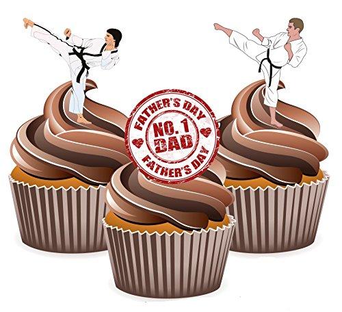 Vater 's Day Karate Kuchen Dekorationen–essbar Stand-up Cup Kuchen Topper (Pack von 12)