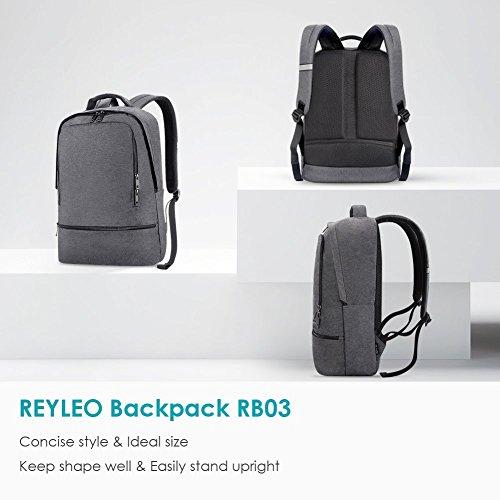 REYLEO Zaino per PC, Laptop Portatile Backpack con Porta USB Casual Impermeabile Unisex per La Scuola e Il Lavoro Fino a 26L (Grigio) - 8
