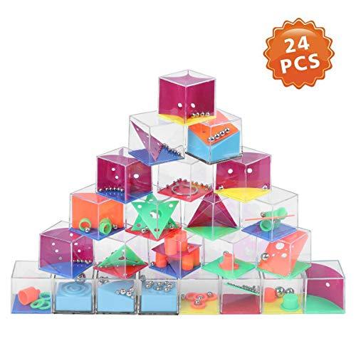 Herefun 24 Stück Geduldsspiele Mini Denkspiel Knobelspiel für Kinder Geduld Spiel Mitgebsel - Mitgebsel Kindergeburtstag Geschicklichkeitsspiel für Kinder und Erwachsene