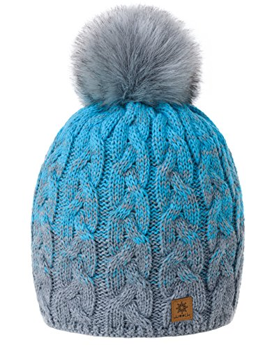 MFAZ Morefaz Ltd Damen Herren Winter Beanie Strickmütze Mütze Wurm Fleece Bommel Fashion SKI (Grey Turquoise)