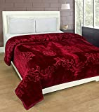 Goyal's Luxurious Embossed Korean Mink Single Bed Blanket Heavy - Maroon