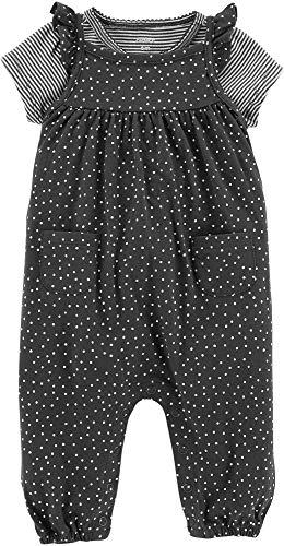 Carters Baby Girls 2-pc. Dots & Stripes Jumpsuit Set 9 Months Black/White Carters Jumpsuit