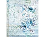 Carta Di Riso Fiori Blu, La Stamperia, A4, Riso Decoupage, Hobby Stock Photo, Foto Royalty Free Image