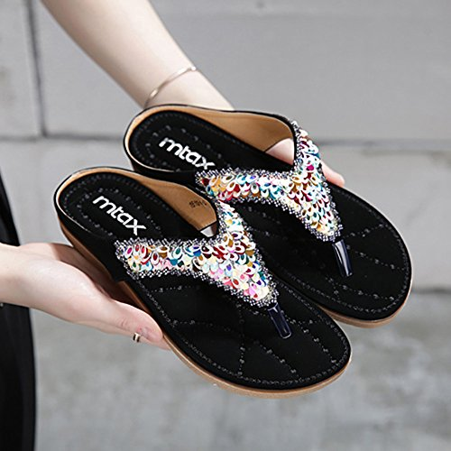 Pente avec sandales à talons hauts à bascule --- Chaussures femme à talon plat au printemps et à l'été Chaussures de plage nationales antidérapantes --- Herringbone fashion sweet Sandals Noir