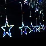 lichterkettenvorhang,LED Weihnachtsbeleuchtung, Stecker Lichterkette Sterne Vorhang Lichterkette, Weihnachtsbeleuchtung für das neue Jahr Dekoration, Farbe