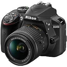"Nikon D3400 + 18-55 AFP DX VR, Cámara réflex digital de 24,2 Mp (pantalla LCD 3"", objetivo estabilizado, inalámbrica con Snapbridge, vídeo Full HD), color negro"