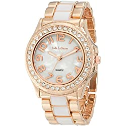 Womens Watch Two Tone Rose Gold and White Bracelet Crystal Bezel Designer Jade LeBaum - JB202744G