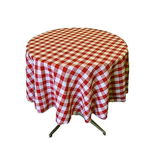 LA Linen Poly Checkered Round Tablecloth, 58-Inch, Red/White by LA Linen